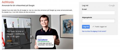 1 Login på Google Keyword Planner