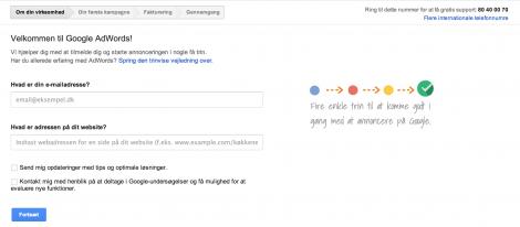 2 Opret en konto ved Google Adwords