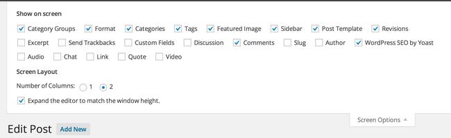 Du kan under Screen option vælge send trackback