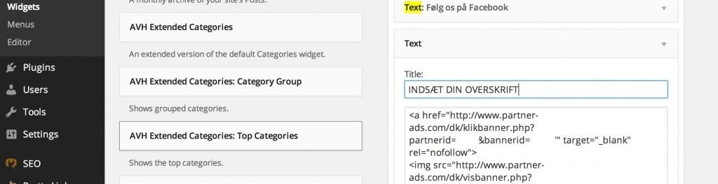 13 Indsættelse af din HTML affilaite banner kode fra Partner-Ads