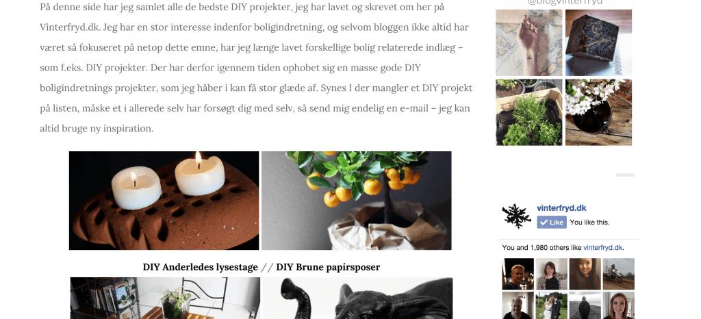 Overblik ved DIY projekter på Vinterfryd.dk