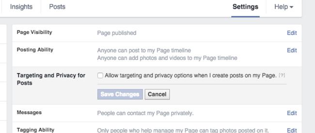 Udvælg målgruppe i facebook opslag - indstillinger