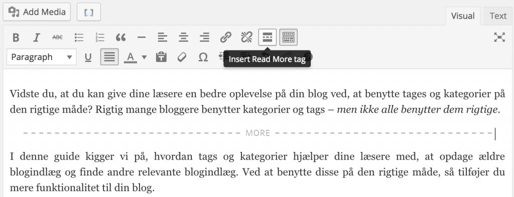 Indsæt læs mere funktion i WordPress blogindlæg