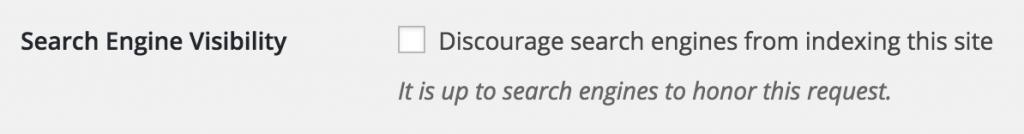 No index i indstillingerne i WordPress