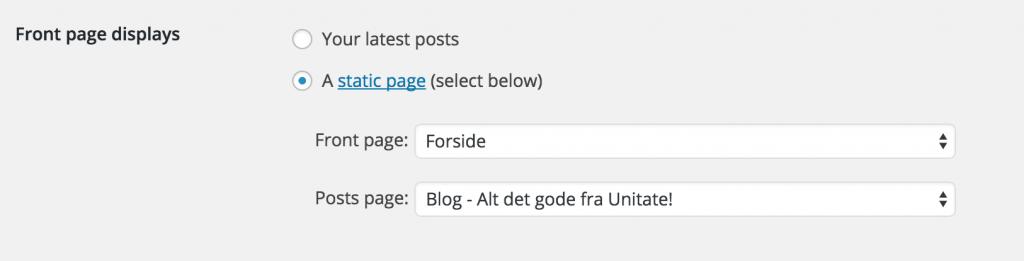 Reading settings i WordPress