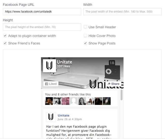2. Opsæt Facebook Page Plugin til din WordPress blog
