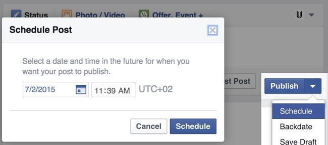 Planlægning af blogindlæg på Facebook