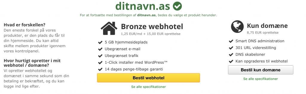 Vælg det korrekte webhotel