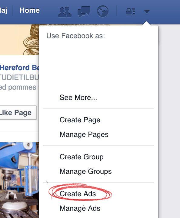 1 opret en Facebook annonce