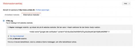 2. Kodestykket fra Google Webmaster tool til din blog