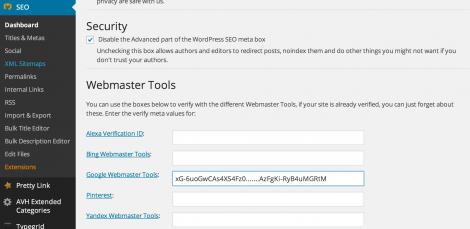 3 indsættelse af Google Webmaster koden i Yoast