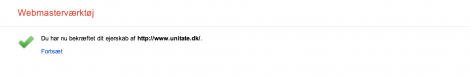4 bekræftet ejerskab af bloggen hos Google Webmaster Tool