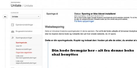 Sporingskoden i Google Analytics som benyttes til bloggen