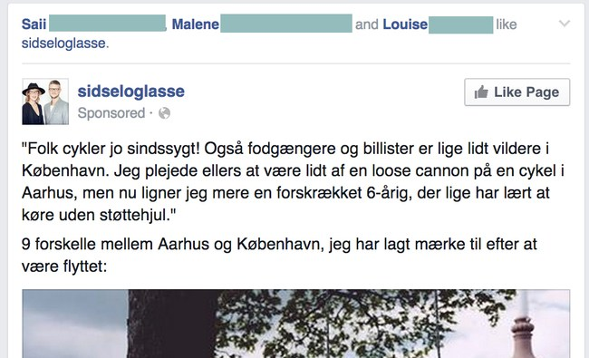 Eksempel på en blogger der benytter Facebook Annoncering