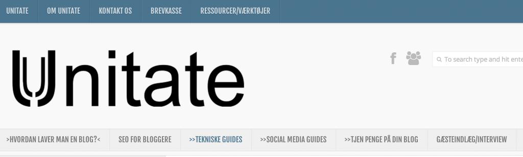 2 Eksempel på menu-struktur på Unitate
