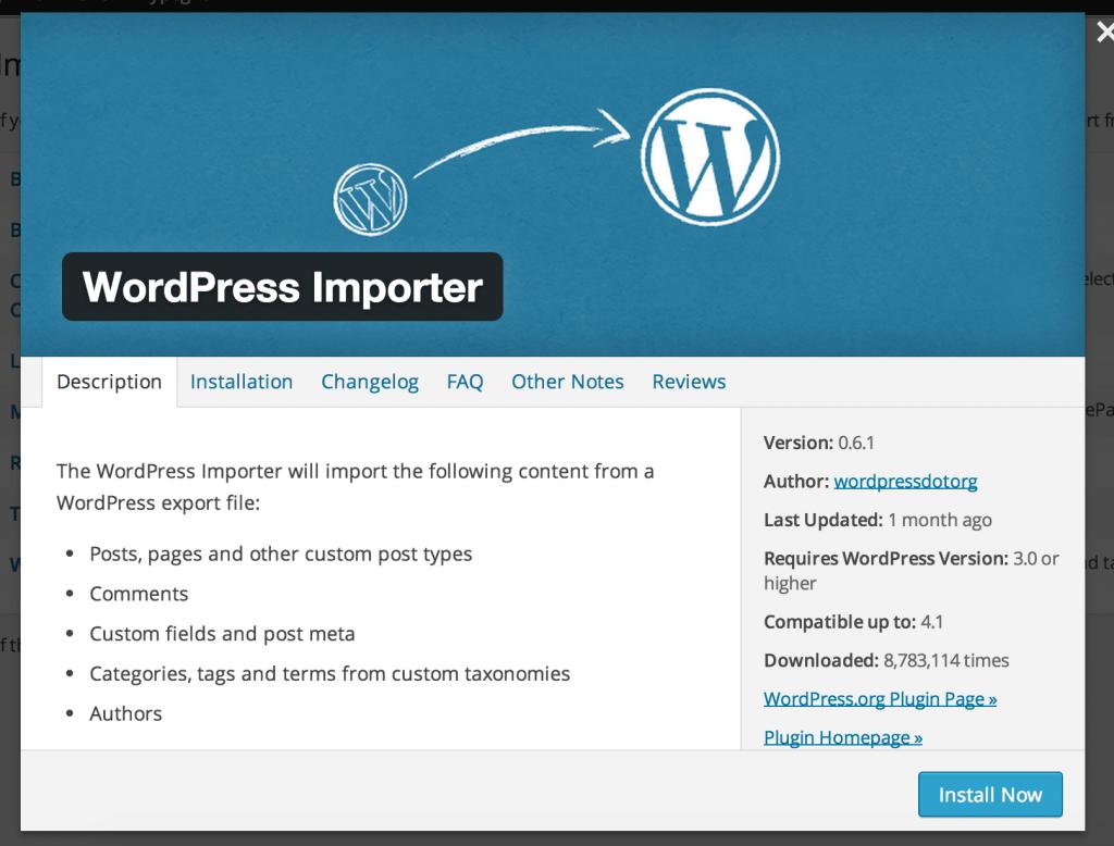 4 Indstaller plugin til import fra din gamle blog