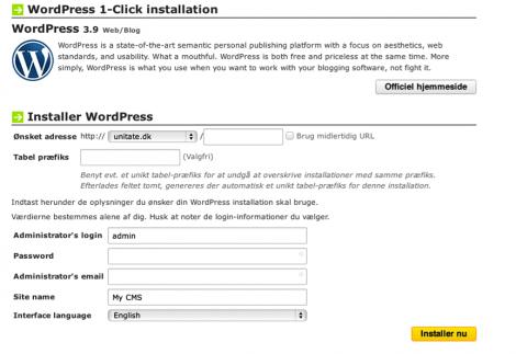 Indtast eneklte oplysninger før installation af WordPress