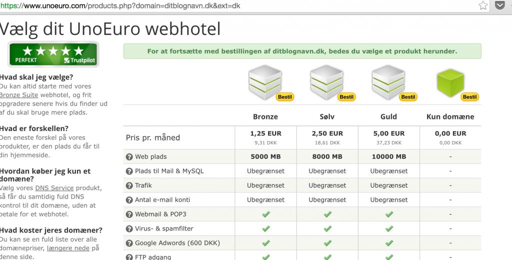 Lav en blog med webhotel fra Unoeuro - Bronze størrelse