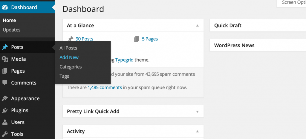 Lav en blot i WordPress fordi det tillader d