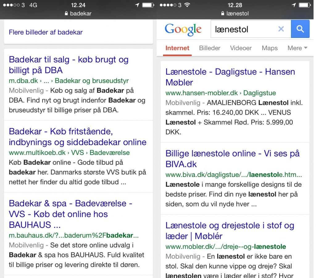 Mobilvenlig-mærkning på Google