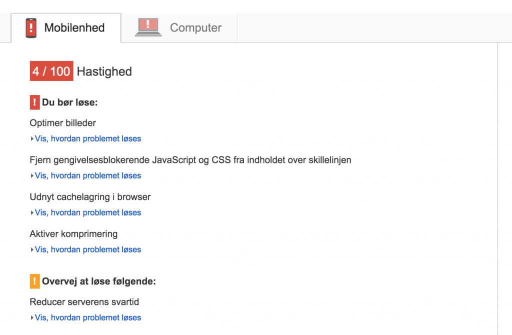Test af loading hastighed med Google PageSpeed