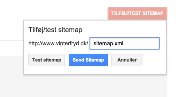 3 Indtast linket til dit sitemap