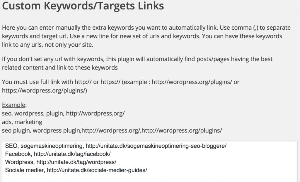 2. Korrekt opsætning af WP Optimize - interne links