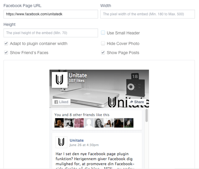 2. Opsæt Facebook Page Plugin til din WordPress blog