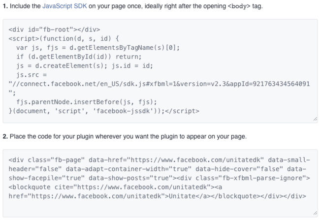 3. Koden fra Facebook Page plugin