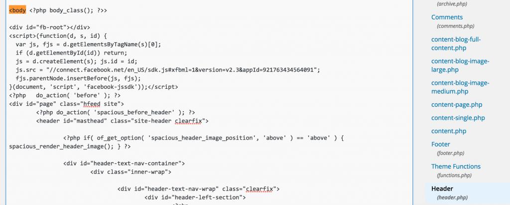 4. indsættelse af kode i header