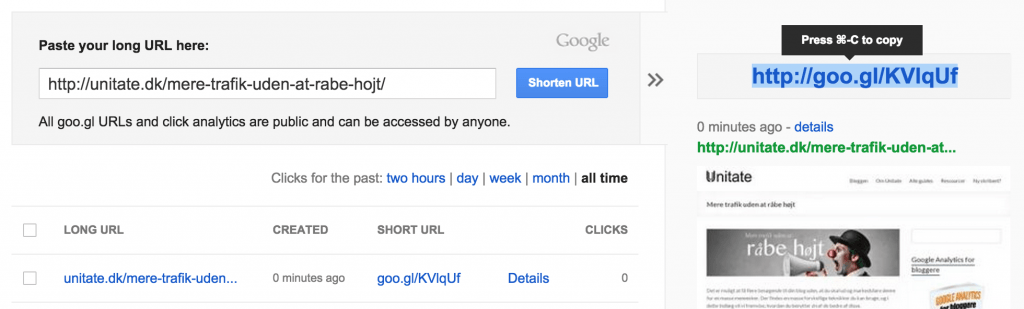 Anvend Goo.gl til at forkorte dine URL'er