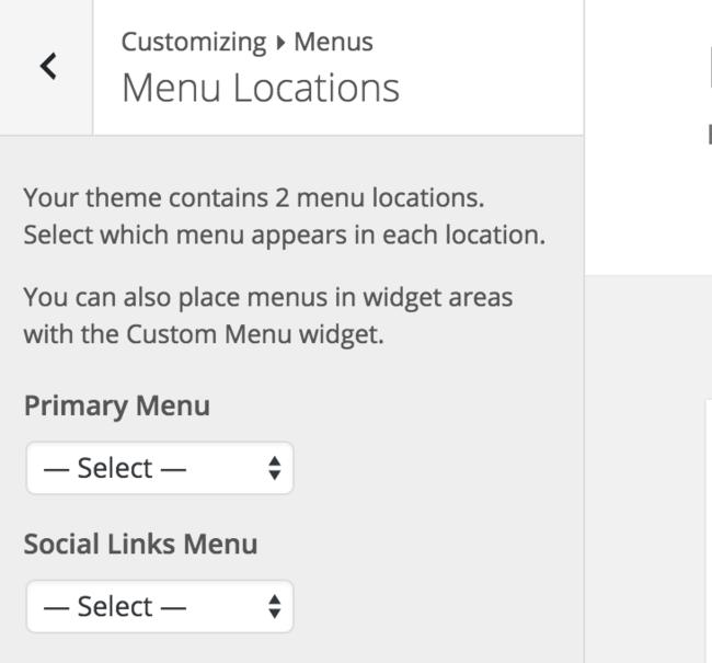 Valg af menu i Worpdress