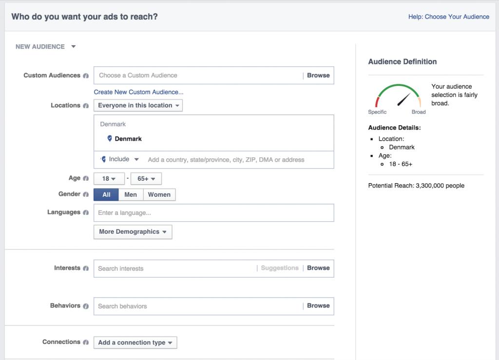 3 Vælg hvem som se din Facebook annonce