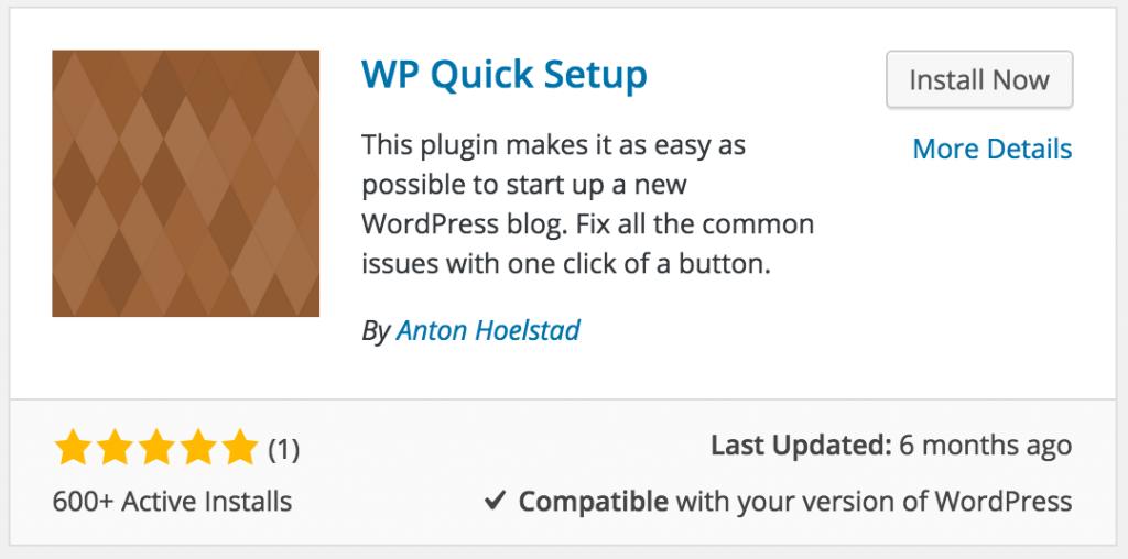 WP Quick Setup